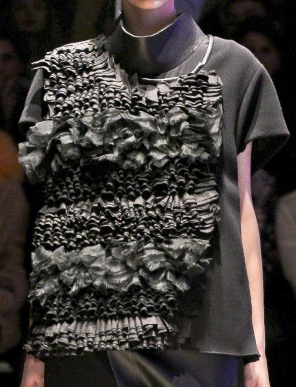 Richly ruffled top with tonal textures - decorative fabric manipulation for fashion; garment design; sewing techniques.