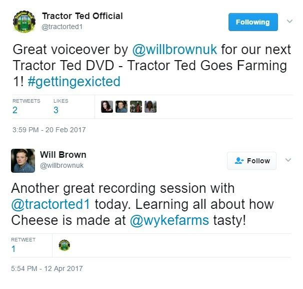 2017: Actor Will Brown takes over the voice of Tractor Ted