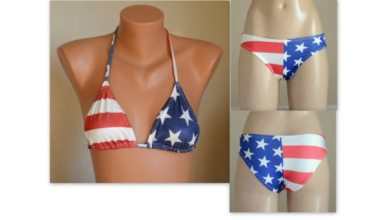 BS1553 PADDED ..American flag high neck halter bikini top and matching bottoms-Swimsuit-4th July bikini-American flag bikini-Bathing suit