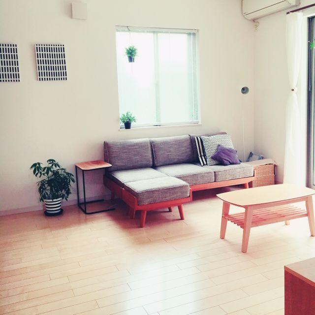 RTKさんの、リビング,IKEA,グリーン,ニトリ,フェイクグリーン,unico ソファ,ファブリックパネル手作り,のお部屋写真