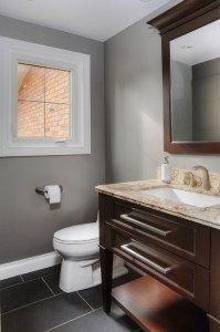 Benjamin Moore Storm is a good gray paint colour with a subtle greige undertone, shown in bathroom