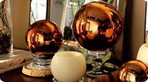 Set of 3 Lit Indoor Outdoor Mercury Glass Spheres w/Timer by Valerie — QVC.com