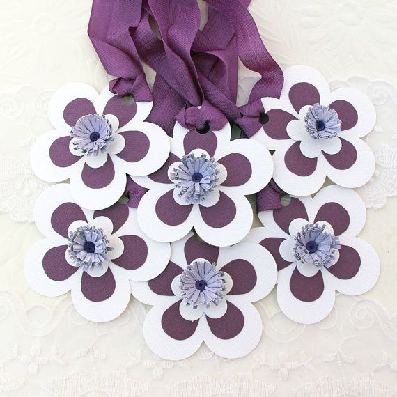 Tags Paper Quilled Fringed Flowers  Quilling by EnchantedQuilling