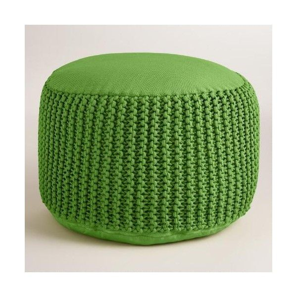 Cost Plus World Market Green Outdoor Pouf ($45) ❤ Liked On Polyvore  Featuring Home