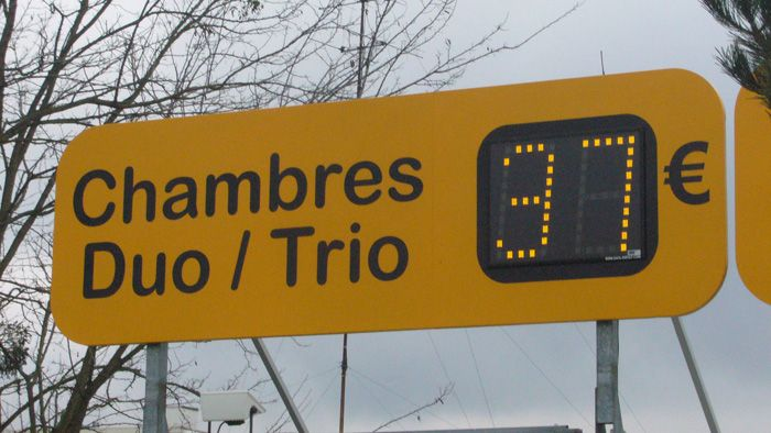 Outdoor LED room rate displays for Accor Hotels chain in France to advertise to passers by the hotels room rates.
