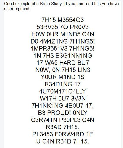 Brain teaser - Can you read this? How am i reading this!? this is so weird! So cool how God designed our minds!