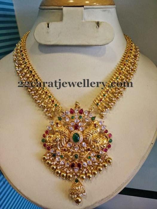 Jewellery Designs: Pretty Nakshi Work Gold Necklace