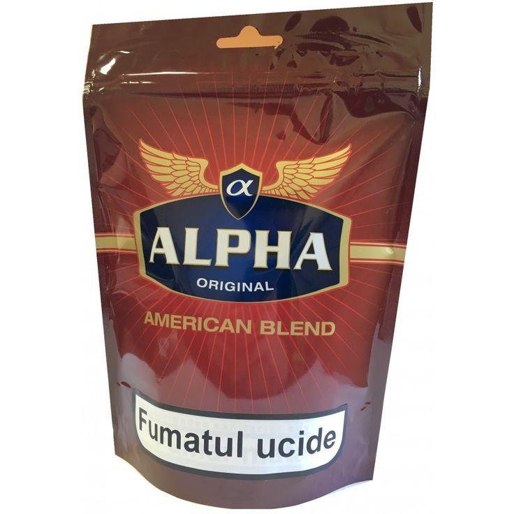 Tutun Alpha Original American Blend 135 gr  Acest tutun se poate injecta in tuburi pentru tigari sau se poate rula folosind filtre si foite speciale pentru rulat. Acest produs se adreseaza exclusiv persoanelor peste 18 ani ! Fumatul dauneaza grav sanatatii tale si a celor din jur. Directiva consiliului CE 2001/37/CEE
