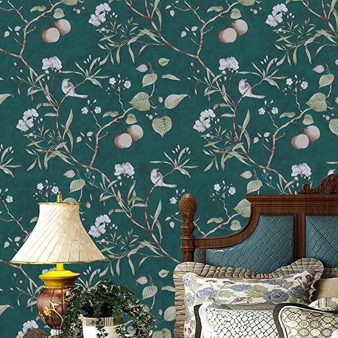 Peach Tree Peel And Stick Wallpaper Green Wallpaper 17 7 X 78 7 Modern Flower Bird Waterproof R Tree Removable Wallpaper Green Wallpaper Vinyl Wall Covering