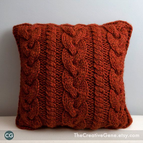 Braid and Twist - 16x16 Hand Knit Cable Pillow - Made to Order