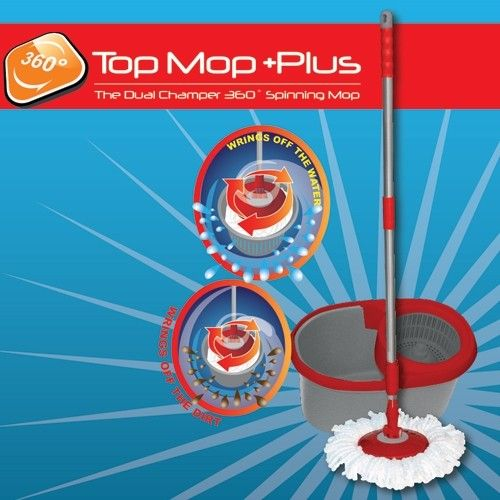 The Top Mop Plus is a complete cleaning system, which includes a spinning action mop and dual chamber bucket.  BUY NOW @ http://www.homemark.co.za/product/top-mop-plus  The super soft absorbent microfiber mop head picks up even the finest dirt, and won't damage your floors.