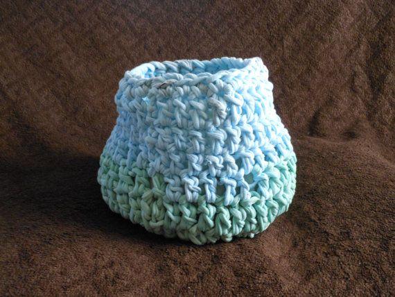 Newborn photography prop Blue Chunky Basket Crochet Newborn Photography by ShortMountain, $15.00