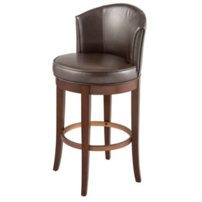 "Manchester Faux Leather Swivel Bar Stool with Back-30""H"