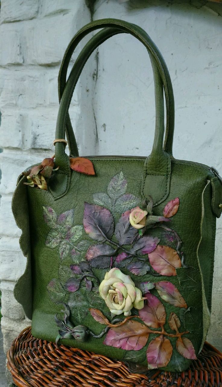 Leather bag Vintage rose - Кожаная сумка, необычная сумка, красивая