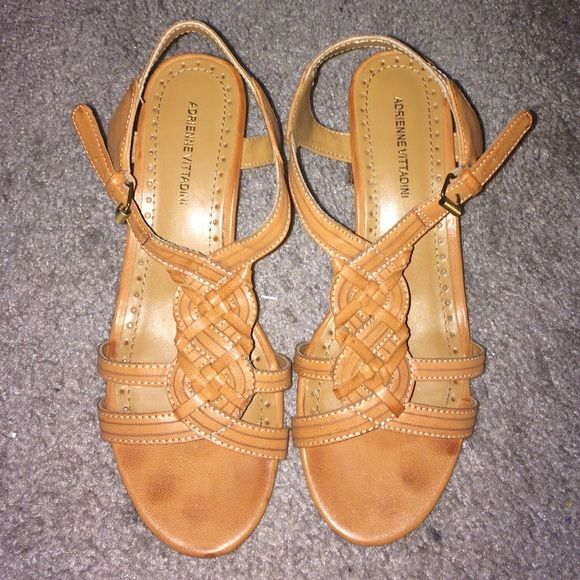 Beige Sandals Beige sandals with 2.75 inch heel.  Make me an offer! ☺️ Adrienne Vittadini Shoes Sandals