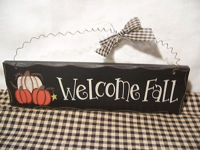 Welcome Fall Harvest Wood Country Primitive Thanksgiving Pumpkin Autumn Sign (: