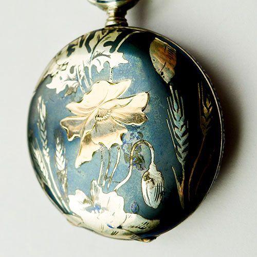 Antique Art Nouveau Silver Floral Longines Pocket Watch - Circa 1900