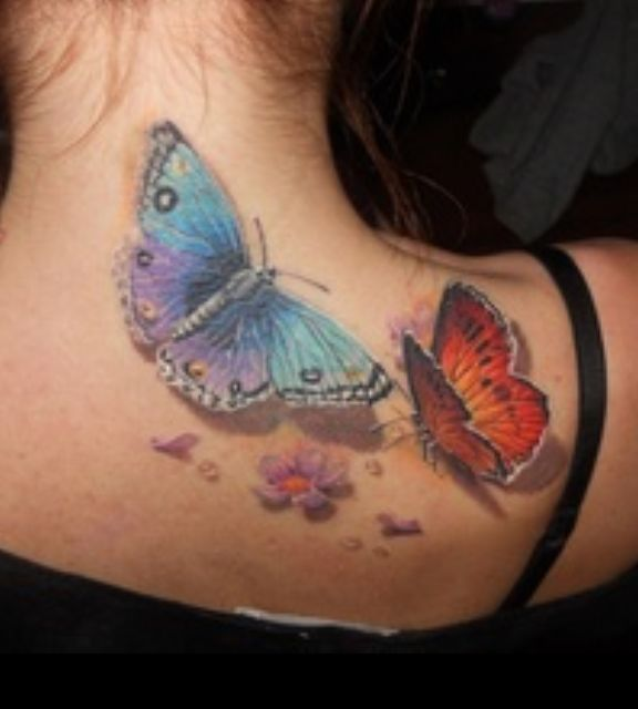 Want the fuchsia and teal color on the butterfly   Awesome Colorful Tattoo of Butterflies