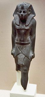 Statue of Mentuhotep VI, British Museum EA 65429. Merankhre Mentuhotep is only attested through two statuettes, JE 37418/CG 42021 and BM EA 65429. The first, discovered in the Karnak cachette,[4] is missing its head and feets and gives the king's nomen and prenomen as well as a dedication to the goddess Sobek, lady of smnw.[2][3] The second statuette whose origin is unknown also bears the titulary of the king but with no dedication.  Another possible attestation of Merankhre Mentuhotep VI is…