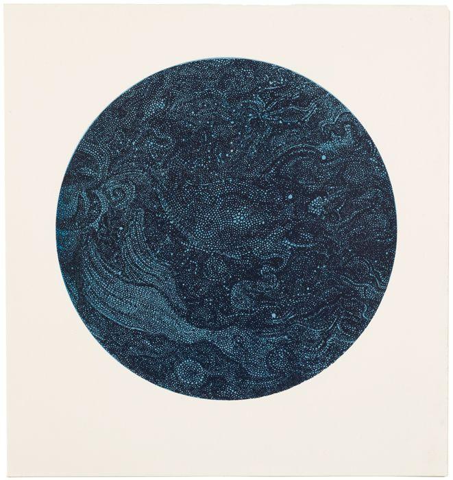 Constellations art print 1, monotype sérigraphique sur papier, format 57 x 61 cm, 2008. - yannbagot