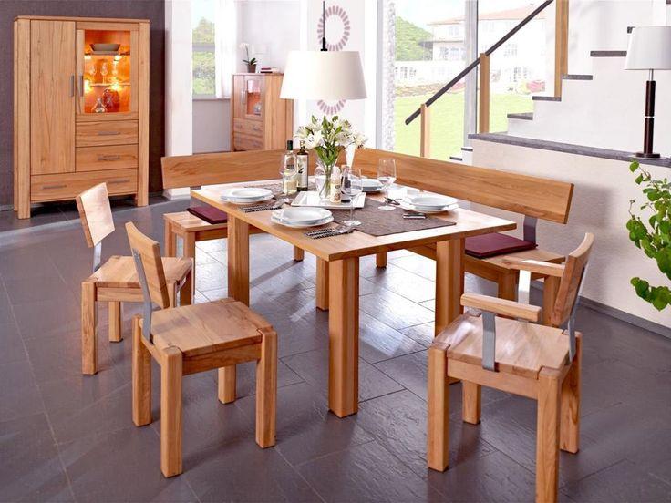 Corner Seat, Chairs, Table, Massive Beech Heart  Wood Eckbank, Bänke,