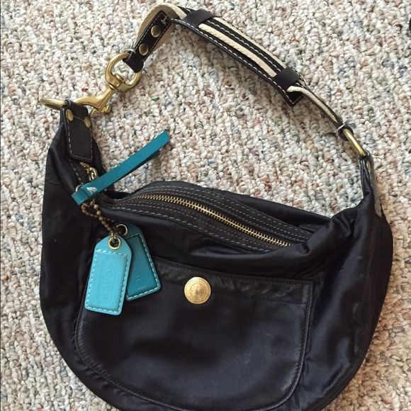 Coach hobo bag purse small black authentic Authentic small black Coach hobo bag.  Leather. Used in great condition super complete cute bag! Coach Bags Hobos