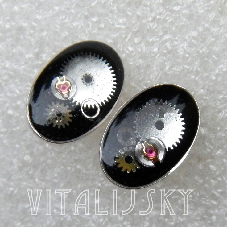 Earrings, silver Ag 925, resin, parts of watch