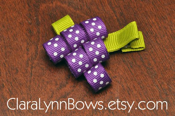 Juicy Grapes Ribbon Sculpture Hair Bow  New to by ClaraLynnBows, $3.00