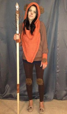 Anya. Will need brown leggings. Brown sweater. Orange gloves, orange scarf, fuzzies for ears, hands, and knees. Ewok costume Anya's project will be the spear
