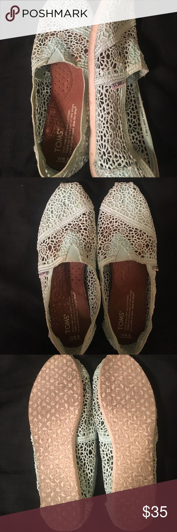 EUC Mint Crochet Toms EUC mint crochet Toms are perfect for summer! TOMS Shoes Flats & Loafers
