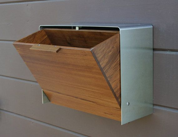 Modern Mailbox Large, Teak And Stainless Steel Mailbox, Wall Mounted Mailbox:  Wood Is Pretty!