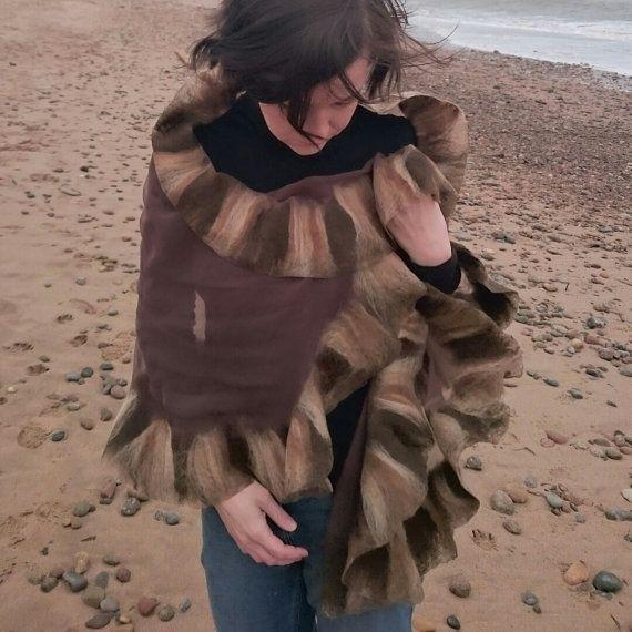 Brown nuno felted silk shawl is now in my Etsy shop https://www.etsy.com/uk/listing/286883851/unique-brown-silk-shawl-silk-wrap-long