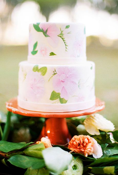 Spring Wedding Cakes: Two-Tiered Wedding Cake with Floral Painted Pattern | Brides.com