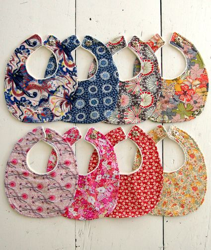 Baby bibs are essentials as all moms know and I am loving the new Liberty of London baby bib kits ($35) now available at Purl Soho. To make them absorbent they are backed with soft organic cotton t...