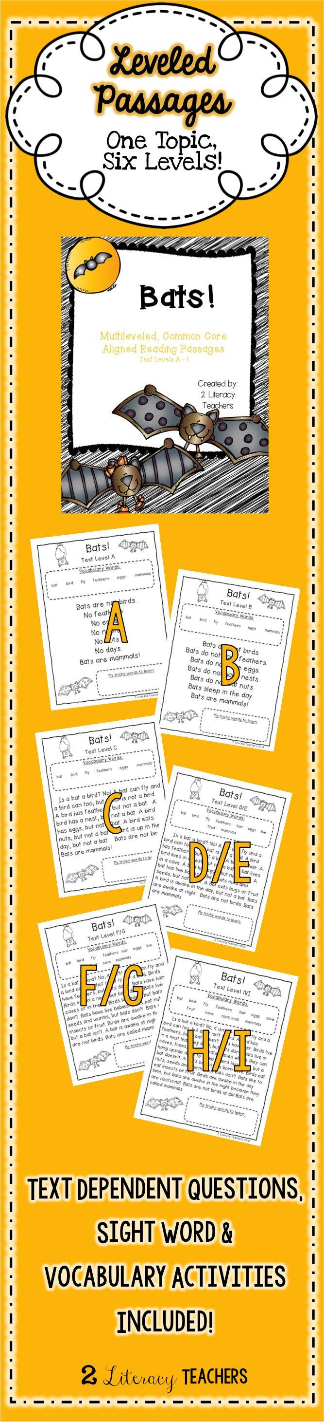 Bats! Leveled Passages. One topic, six levels. Great for differentiation. Can be used in small groups and whole groups so that each student can access the same content. Perfect to supplement your bat themes!