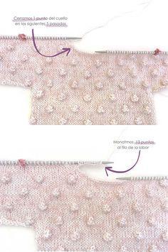 Jersey de punto Popcorn de bebé tejido a dos agujas DIY - Tutorial y patrón