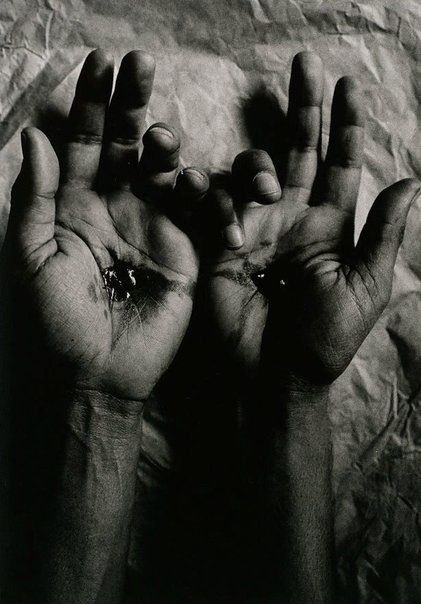 Michael Riley.  Untitled (crucified hands), from the series Sacrifice.