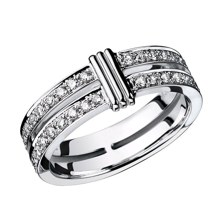 Alliance Subtile Eternité, or blanc, lien en or blanc, diamants - Mauboussin