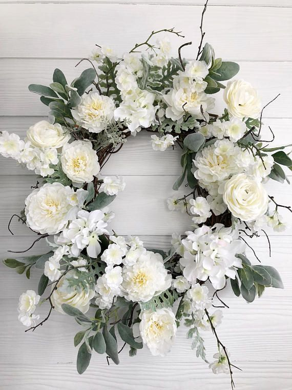 Soft And Airy White Hydrangea And Peony Wreath Wreath Is Designed On A Grapevine Base With High Quality Silk Floral And Wreaths Spring Wreath Wedding Wreaths