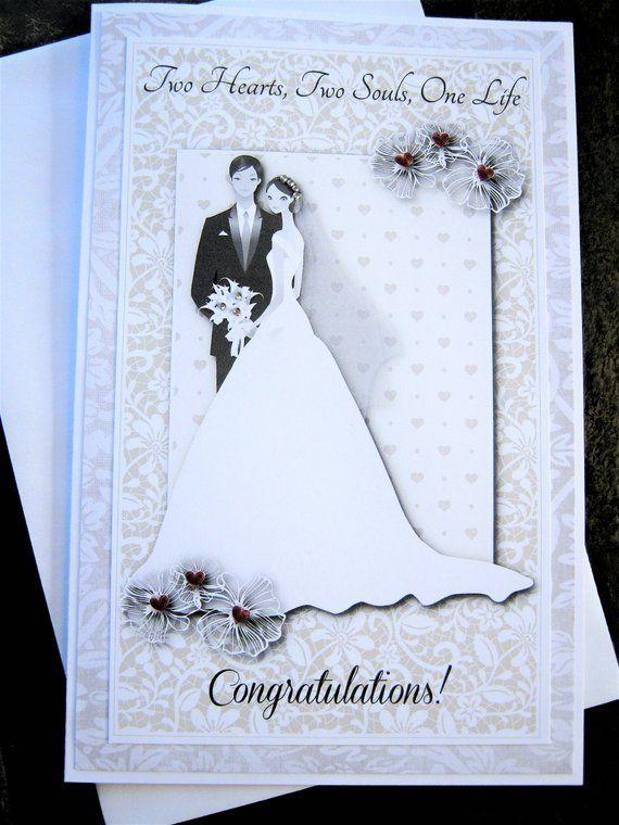 Congratulations Light Blue and Grey Handmade Greeting Card Bride Groom Card Unique Wedding Card Wedding Card Custom Personalised