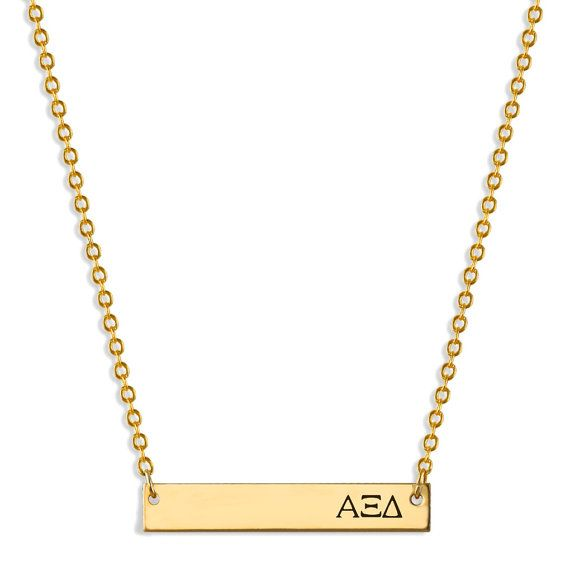 Alpha Xi Delta Bar Stamped Personalized Necklace // Name Plate Necklace // Sorority Jewelry // Sorority Gifts // Big Little