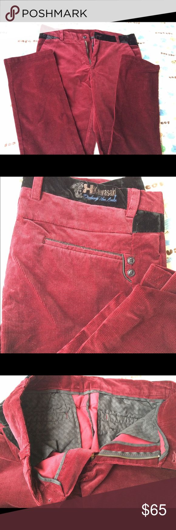 Brand new men's trousers New size around 175/92A, the true color close to dark red,  a little bit darker than in the photos. Velvet type of fabric. Pants