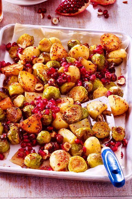 Geröstetes Gemüse mit Granatapfel
