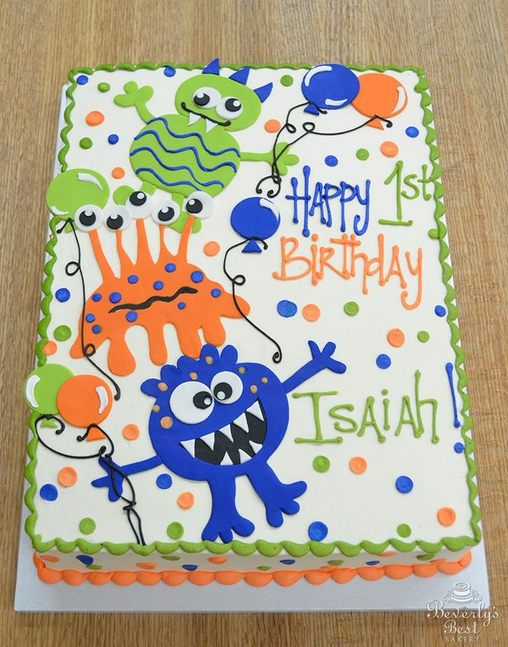 Silly Monsters 1st Birthday Cake by Beverly's Bakery