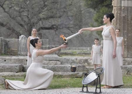The flame's journey starts in Olympia, Greece home of the Olympics and arrives in the UK on May 18, 2012 before setting out on a 70-day Torch Relay.  We wish the flame a safe journey around the globe and return to Olympia to light the Olympic cauldron and begin the Games.