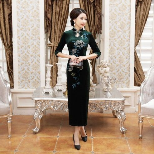 Traditional Green Velour Half Sleeve Long Cheongsam Floral Evening Dress