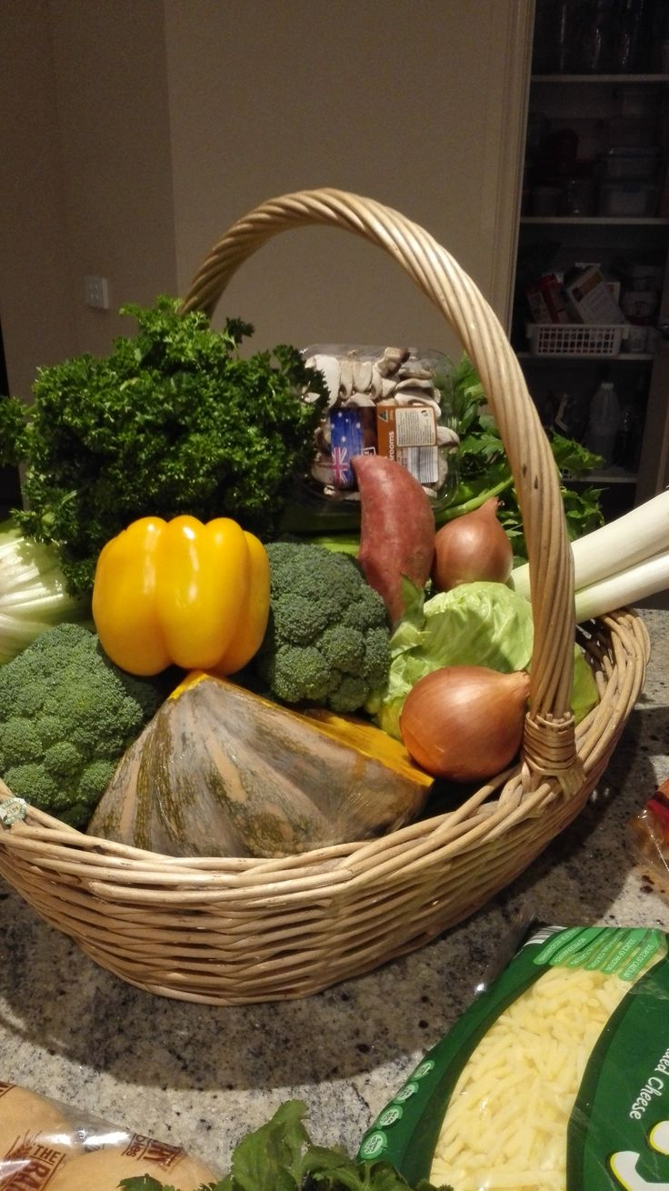 A basketful of chosen vegetables for my winter vegetable soup!