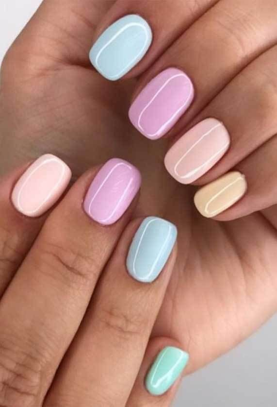 Pretty In Pastel Nail Colors Designs To Try This Season In 2020 Oval Acrylic Nails Short Acrylic Nails Short Gel Nails