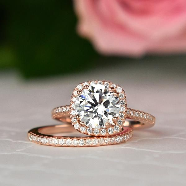 2.25 ctw Square Halo Bridal Wedding Set - Rose Gold – Tiger Gems