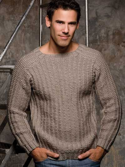 Mr. Right Pullover Knitting Pattern Download from e-PatternsCentral.com -- The classic crewneck gets a fresh, new look with an allover ridged-rib stitch pattern.